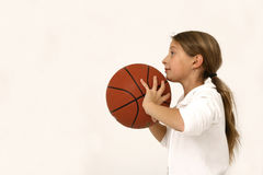 Girl with basket ball Royalty Free Stock Photo