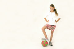 Girl with basket ball Royalty Free Stock Image