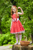 Girl with a basket of cherries. Girl in a beautiful dress with a basket of cherries Stock Photography