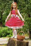 Girl with a basket of cherries. Girl in a beautiful dress with a basket of cherries Royalty Free Stock Photos