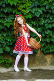 Girl with a basket of cherries. Girl in a beautiful dress with a basket of cherries Royalty Free Stock Images