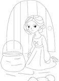Girl with a basket coloring page. Useful as coloring book for kids Stock Photo