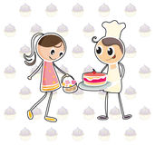A girl with a basket of flowers and a boy with a cake. Illustration of a girl with a basket of flowers and a boy with a cake on a white background Royalty Free Stock Photos