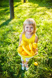 Girl with a basket of fruit Royalty Free Stock Photos