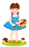 girl with basket full of mushrooms Royalty Free Stock Photography