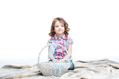Girl with basket Royalty Free Stock Photo