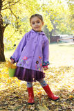 Girl with basket and leaves in autumn park Stock Photo