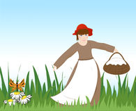 Girl with a basket Stock Images