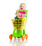 Girl with a basket of products Royalty Free Stock Images