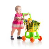 Girl with a basket of products Royalty Free Stock Photography