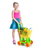 Girl with a basket of products Royalty Free Stock Photo
