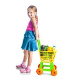 Girl with a basket of products Royalty Free Stock Photos