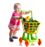 Girl with a basket of products from the supermarket Royalty Free Stock Photos