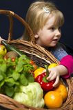 Girl with basket of ripe fruit Royalty Free Stock Photo