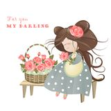 Girl with basket of roses. Vector greeting card Royalty Free Stock Image