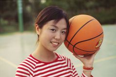 Girl and basketball. In the afternoon,Girl play basketball Royalty Free Stock Photos