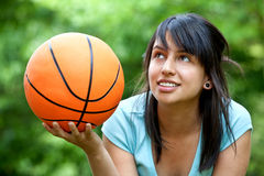 Girl with a basketball Stock Photo