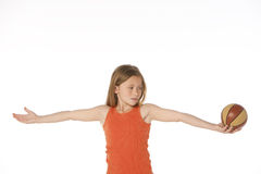 Girl with basketball Royalty Free Stock Photography