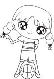 Girl with a basketball coloring page. Useful as coloring book for kids Royalty Free Stock Photography