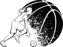 Girl Basketball with Grunge Ball. Black and White vector illustration of a female basketball player dribbling in front of a Grunge basketball in background Stock Photo