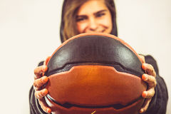Girl with a basketball Royalty Free Stock Images