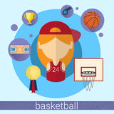 Girl Basketball Player Icon. Flat Vector Illustration vector illustration