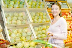 Girl with basketful vegetables Royalty Free Stock Photos