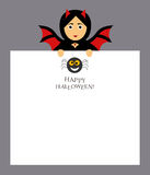 The girl bat vampire is holding a notepad sheet for the entries. Spider, inscription happy Halloween.Modern flat design. Stock Photography