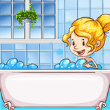 Girl in bath with bubbles Stock Photos