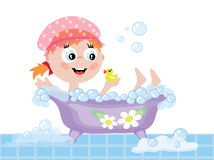 Girl in the bath CMYK Stock Photos