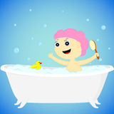 A girl in the bath Stock Photos