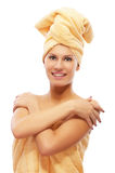 Girl in bath towel. Beautiful girl in bath towel on white Stock Photos