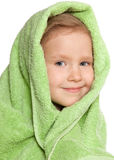 Girl in bath towel. Little child in green bath towel Stock Images