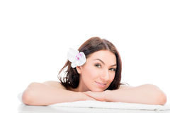 Girl on a bath towel posing Stock Photo