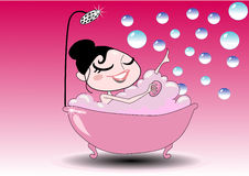 Girl in the bath tub. Vector illustration background of pretty woman or girl having a bath in a fashion style bath tub royalty free illustration