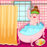 Girl in the bath tub Stock Photo