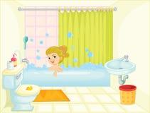 Girl in bath tub royalty free illustration