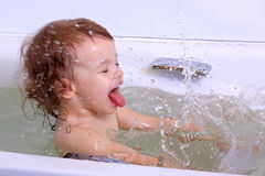 A girl bathes. Royalty Free Stock Images