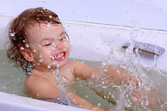 A girl bathes. Royalty Free Stock Photo