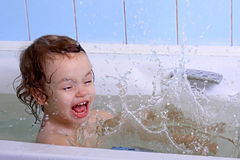 A girl bathes. Stock Photo
