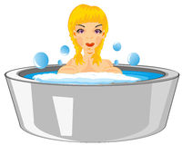 Girl bathes in basin Royalty Free Stock Photography