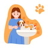 Girl bathes, cleans mouth of dog under tap in sink. Caring for puppy, pet. Girl bathes, and cleans mouth of dog under tap in sink. hildren with dog. Caring for royalty free illustration