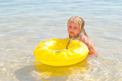 Girl bathes in the red sea Stock Photo
