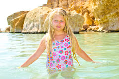 Girl bathes in the red sea Royalty Free Stock Photography