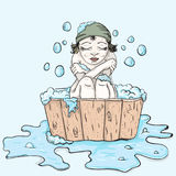 The girl in the bathing basin froze Royalty Free Stock Images