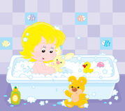 Girl bathing. Little girl playing with toys in a bath with foam stock illustration