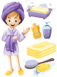 Girl bathing. Set of bathroom objects with girl in robe Stock Photos