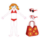 Girl in a bathing. Suit with accessories for the beach royalty free illustration
