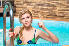 The girl in a bathing suit is a great idea Royalty Free Stock Photo