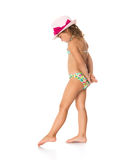 Girl in a bathing suit and hat Stock Photography